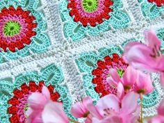 crochet flower blanket 9