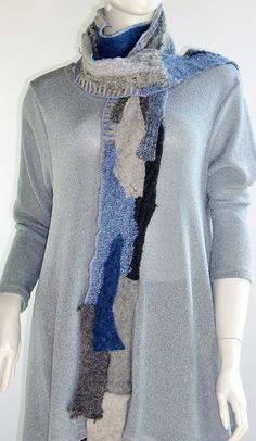 Long Narrow Scarf Denim Blue and Grey Upcycled by Brendaabdullah. Inspiration for knitting/needle felting?