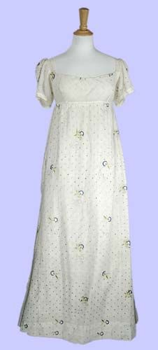 Date:1800 - 1809 (c.)    Description: Cotton muslin dress with silk embroidery and silver thread decoration.