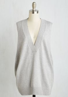 Classics Curator Vest - Long, Grey, Solid, Minimal, Sleeveless, Fall, Winter, Knit, Better, V Neck