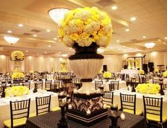 Black, white and yellow reception wedding flowers, wedding decor, wedding… Yellow Wedding Flowers, Floral Wedding, Yellow Weddings, Gold Flowers, Wedding Colors, Yellow Party Decorations, Reception Decorations, Wedding Flower Arrangements, Flower Centerpieces