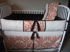 Custom Orange Brown Damask baby crib nursery bedding