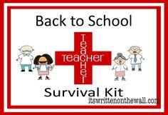 It's Written on the Wall: (Freebie) Back to School Teacher Survival Kit (Teacher Appreciation Gift)