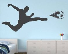 Items similar to Soccer Wall Decal - Three Soccer Players Vinyl Wall Decal Sticker on Etsy Boys Soccer Bedroom, Soccer Room, Boy Room, Kids Bedroom, Sports Wall Decals, Wall Decal Sticker, Volleyball Workouts, Kids Room Wall Art, Children's Place