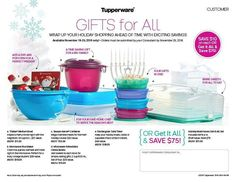 Christmas Gifts for all! Have you started your Christmas shopping yet? How would you love to have all of these Tupperware products for ONLY $75 Black Friday is just around the corner so don't forget about my Tupperware specials! And if you don't already know about my specials for Black Friday then ask me! #food #freestuffforhostesses #greatquality #Love  #LeighAnnWells    #LifeHackswithTupperware #bpafree #families #houseparty #opportunity  www.my.tupperware.com/LeighAnnWells