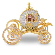 Sparkling with 900 Swarovski crystals, this jeweled Cinderella Coach Miniature by Arribas Brothers, is fit for a Disney princess. Cinderella Coach, Cinderella Carriage, Cinderella Castle, Cinderella Crafts, Cinderella Theme, Cinderella Pumpkin, Cinderella Wedding, Swarovski Crystal Figurines, Swarovski Crystals