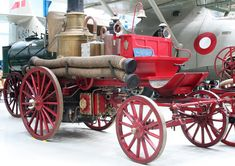 Fire Engines Photos - Horse-drawn fire engine from 1888 in Denmark