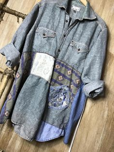 Womens Up cycled Tunic, Repurposed, Soft Fun and Funky, Comfortable Casual Cotto. Sewing Clothes, Diy Clothes, Sewing Men, Recycled Fashion, Recycled Clothing, Altered Couture, Shirt Refashion, Altering Clothes, Old Sweater