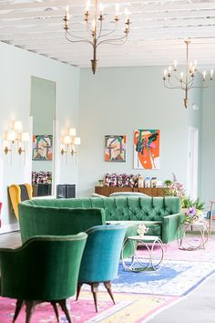 Blue abs green velvet sofas at The Fig House