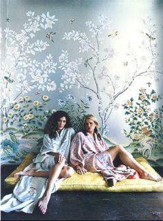 gracie hand painted wallpaper. nylon magazine via the paris apartment