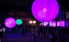 KYOTO--Mysterious luminous spheres float inside a Kyoto shrine like visitors from another planet. Random Items, Kyoto, Mysterious, Planets, Mystery, Balloons, How To Make, Globes, Balloon