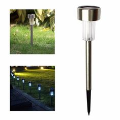 Hot 10 pcs Decorative Stainless Steel LED Solar Landscape Path Lights Garden Outdoor Lamp for Lawn Light Pathway Yard