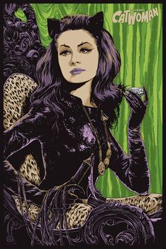 Julie Newmar as the Catwoman. Art portrait by Ken Taylor, distributed by Mondo at SDCC 2014 Catwoman Cosplay, Batman Et Catwoman, Cosplay Gatúbela, Batman 1966, Batgirl, Joker, Julie Newmar, Omg Posters, Best Movie Posters
