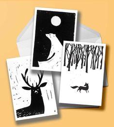 Set of 3 original lino-cut christmas cards (animals) by samuelhorwooddesign on Etsy Stamp Printing, Screen Printing, Linocut Prints, Art Prints, Block Prints, Lino Art, Linoprint, Christmas Art, Etsy Christmas