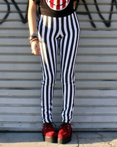Black and White Stripe Leggings Handmade. $40.00, via Etsy.