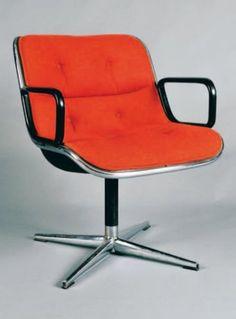 Charles Pollock; Plastic, Chromed and Enameled Metal Armchair for Knoll International, c1965.