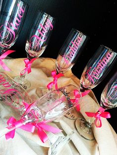 1 Personalized champagne flute Bride Bridesmaid Maid of honor Matron of honor wedding bachelorette PERFECT gift! $9 each  https://www.etsy.com/listing/166895996/1-personalized-champagne-flute-bride?ref=listing-shop-header-2