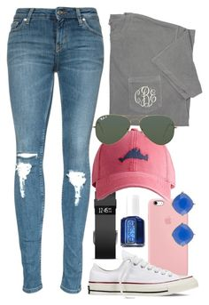"""Basic"" by prep-life-is-good-life ❤ liked on Polyvore featuring Fitbit, Converse, Essie, Harding-Lane, Ray-Ban and Carolee"