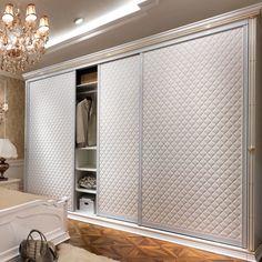 Oppein Modern Three Doors Sliding Leather Wardrobe (YG11114)