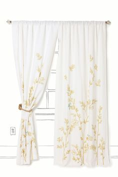 {Love} these curtains.  Have one set but want to make my own for other rooms in the house.  Weaver Bird Curtain - Anthropologie.com