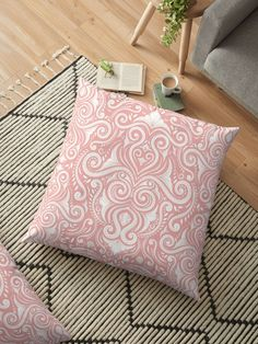 Pink Flourish Floor Pillows