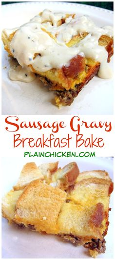 Sausage Gravy Breakfast Bake - sausage, cheese, eggs, bread and gravy - quick…