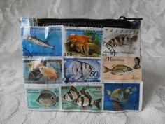 Postage Stamp Purse - Fish
