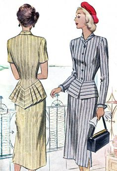 1940s Dress Pattern McCall 7188 Womens Two Piece Peplum Dress Slim Skirt and Pointed Back Pleated Peplum Vintage Sewing Pattern Bust 34