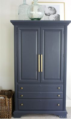 Emily transformed her old armoire by painting it with Hale Navy (Benjamin Moore) and updated the hardware. Great tutorial and before and afters.