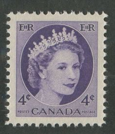 Canada-340i-4c-Dp-Violet-1954-Wilding-Issue-DF-Greyish-Ribbed-SUP-98-NH