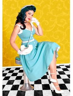 "Dress ""Sea Breeze"" - Rockabilly Clothing Light Aqua button dress 143$ chez Montreal Vintage Pin Up"