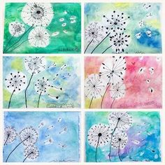 What a suitable theme for the first windy day of summer, and the last art class this school year! The lovely and dainty dandelion! We… rubbercement Summer Art Projects, Easy Art Projects, School Art Projects, Collaborative Art Projects For Kids, Group Art Projects, Art Education Projects, Kindergarten Art Projects, Kids Art Class, Art 2nd Grade