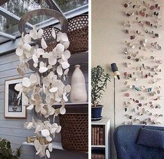 Little Lovables: Mobile Finery. Hanging by a Thread Seashell Crafts, Beach Crafts, Interior Design Major, Forest Art, Ceramic Clay, Clay Art, Wind Chimes, Sea Shells, Ladder Decor