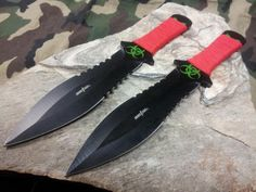 """Perfect Point Throwing Knife Set 2 PC 7.5"""" Black & Red - 0982RD"""