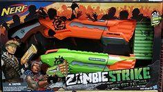 NERF N-strike Zombie Strike Rough Cut Orange & Green W/ 22 Darts for sale online