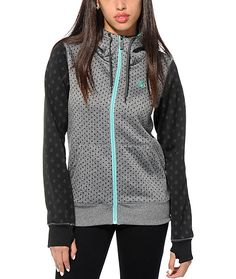 Let it storm and take on the winter in style with this tech fleece jacket made with a rain drop print poly shell that protects from moisture while the soft fleece interior keeps you warm and comfortable.