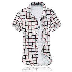 LONMMY Summer New M-6XL Plaid Shirt men Mercerized cotton Camisa cuadros Men dress shirts Short sleeve men shirt slim fit