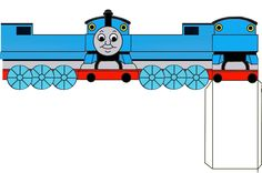 For our son's 4th birthday, we made little paper boxes in the shape of Thomas the Tank Engine filled with candy. The other kids in the class had fun with the treat. I made this paper model from a color paper. Feel free to use it. I have a PDN (Paint.net) template if you like to edit.