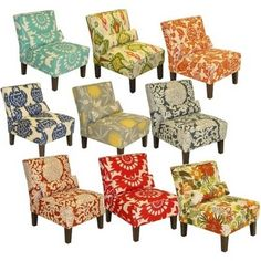 Love these printed chairs--can't believe they're from Target! - Click image to find more Home Decor Pinterest pins