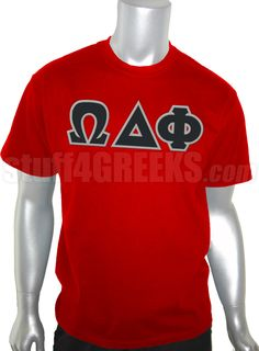Red Omega Delta Phi t-shirt with the Greek letters across the chest.