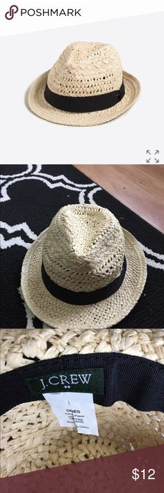 J. Crew Straw Fedora Adorable woven fedora with black tie in excellent condition! Never worn. J. Crew Accessories Hats