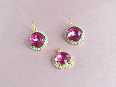 Fuchsia earrings and necklace, Swarovski jewelry set, pink wedding jewelry, colorful bridal earrings