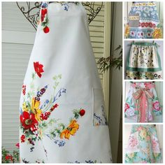 - Simply Fresh Vintage - Vintage tablecloths can be used to make custom home decor custom clothing. Over 25 ideas are given for using vintage tablecloths in unique ways. Cute Aprons, Chef Apron, Sewing Aprons, Vintage Embroidery, Crewel Embroidery, Embroidery Boutique, Embroidery Thread, Embroidery Patterns, Vintage Textiles