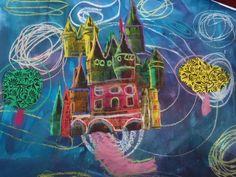 château : photocopie coloriée à l'encre, fond: craies grasses et encre