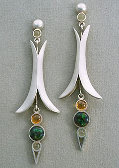 Black Opal Earrings with black opals, golden saphires and moonstones - Terry Kovalcik Jewelry