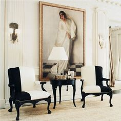 """Ralph Lauren Home Archives, """"Mayfair"""", Living Room detail, """"Fashioned with modern elegance and. Casa Magnolia, Black And White Chair, White Chairs, Black White, Pink Chairs, White Gold, Interior Decorating, Interior Design, Style At Home"""
