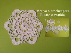 Motivo en crochet para blusas o vestido - YouTube Crochet Circles, Crochet Mandala, Crochet Squares, Crochet Motif, Crochet Hats, Granny Squares, Crochet Puff Flower, Crochet Flowers, Black Crochet Dress