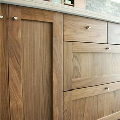 Besides our popular paint-them-yourself DIY Shaker IKEA doors, we also offer solid Shaker doors in stainable Alder, plus finished Maple, Rift Oak, Douglas Fir, Cherry and (seen here) #Walnut.
