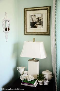 {Home Tour} My Turquoise and White Bedroom from Celebrating Everyday Life (celebratingeverydaylife.com), Master Bedroom retreat, soothing master bedroom
