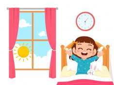 happy cute little kid girl wake up in the morning - Buy this stock vector and explore similar vectors at Adobe Stock Cartoon Clip, Cartoon Kids, Girl Cartoon, Good Habits For Kids, Lessons For Kids, Art Drawings For Kids, Drawing For Kids, Cute Little Girls, Cute Kids